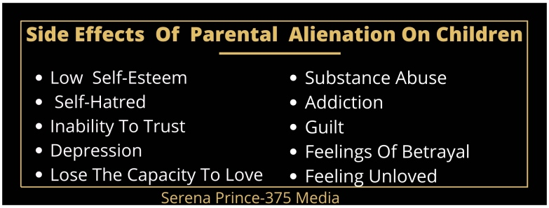 Alt = Side effects of parental Alienation on children: Low self-esteem, self-hatred, inability to trust, depression, lose the capacity to love, substance abuse, addiction, guilt, feelings of betrayal, feeling unloved.